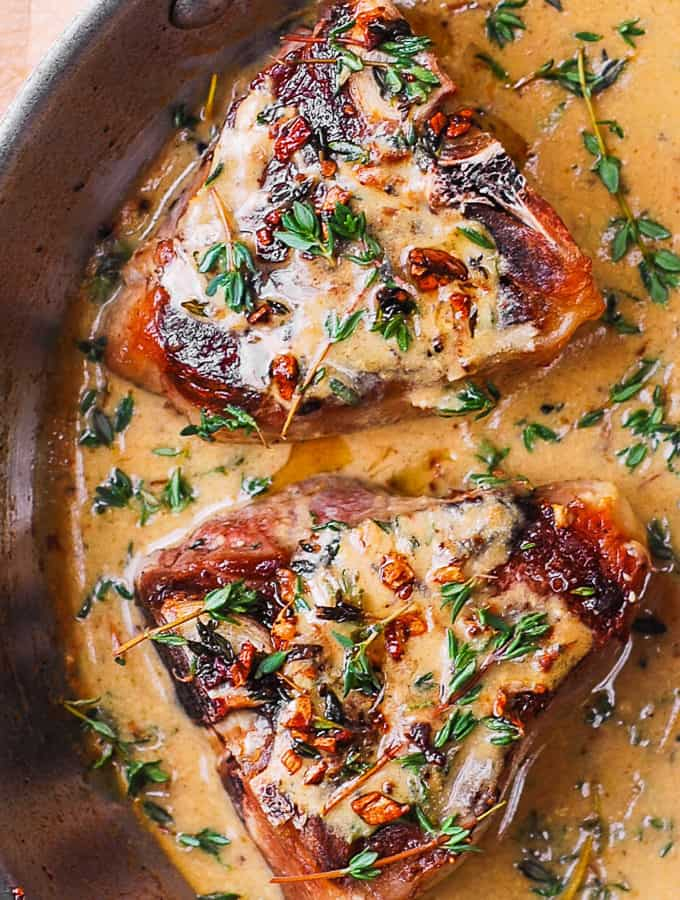 lamb chops with mustard thyme sauce