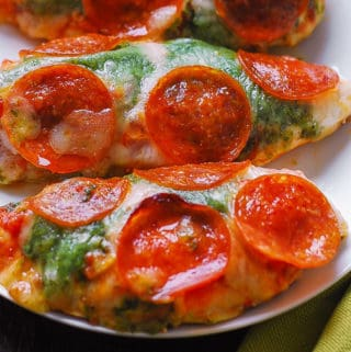 Pepperoni Chicken with Basil Tomato Sauce and Mozzarella