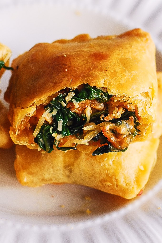 chicken and spinach in puff pastry