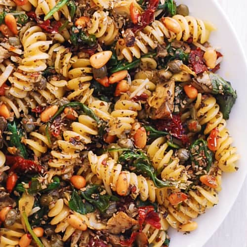 Fusilli with Spinach, Artichokes, Sun-Dried Tomatoes, Capers, Garlic, and Pine Nuts