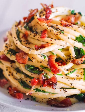 bucatini with spinach, bacon, creamy Parmesan sauce