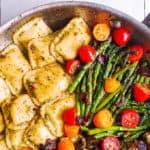 chicken ravioli with pesto and veggies