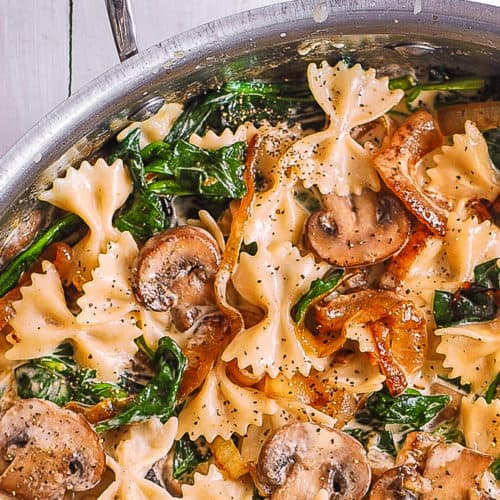farfalle with spinach, mushrooms, caramelized onions