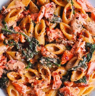 salmon pasta with sun-dried tomato cream sauce