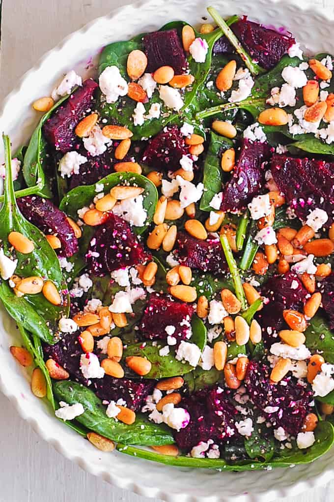 simple beet salad with goat cheese