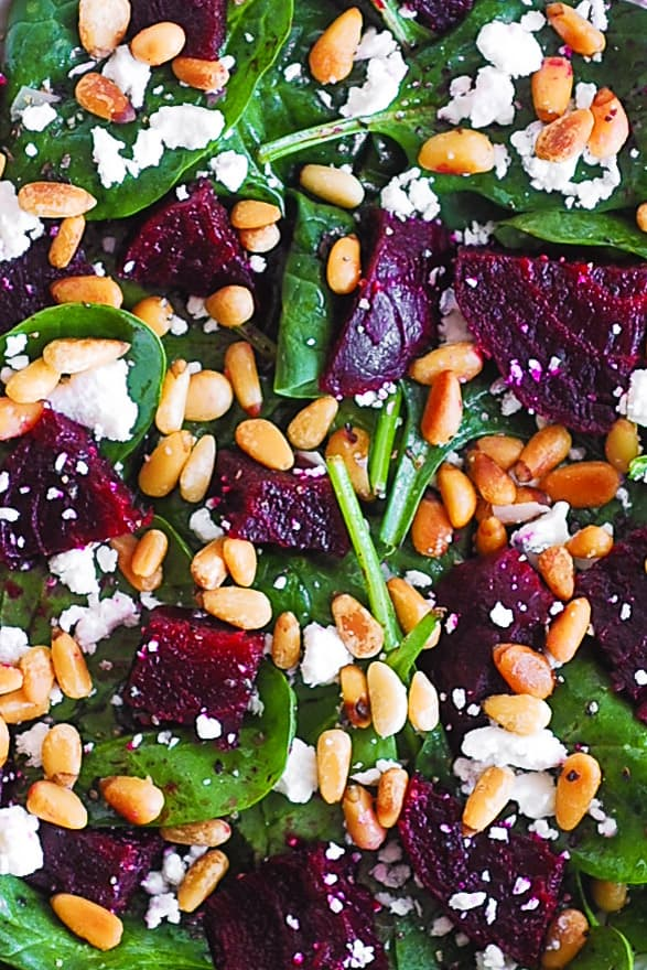 simple beet salad with goat cheese and pine nuts