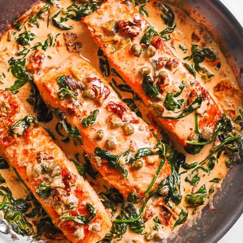 Creamy Tuscan Salmon With Spinach Artichokes And Garlic