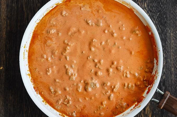 tomato cream sauce in a skillet