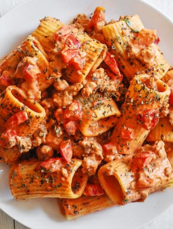 Paccheri Pasta with Sausage and Tomato Cream Sauce
