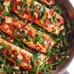 pan-seared salmon with spinach
