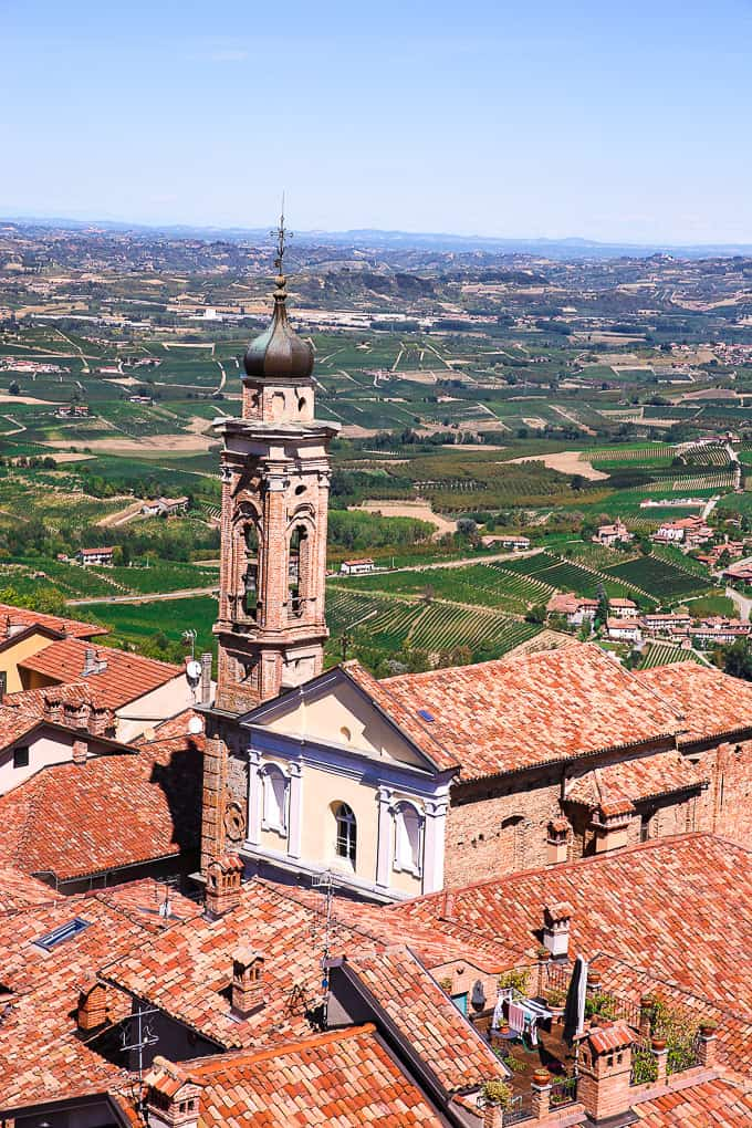 view from the tower in La Morra, Piedmont, Italy