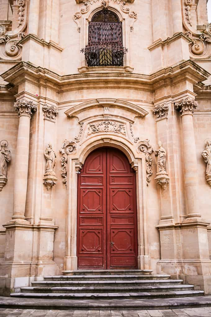 Baroque Facade of San Giuseppe church in Ragusa Ibla, Sicily, Italy