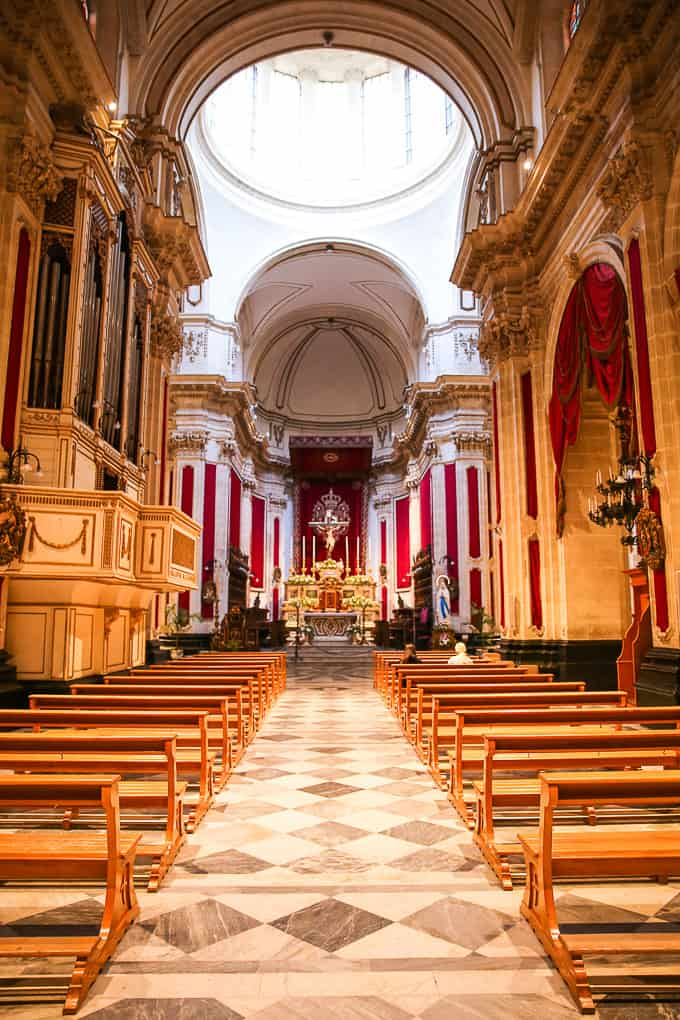 Cathedral of San Giorgio - inside - in Ragusa, Sicily, Italy