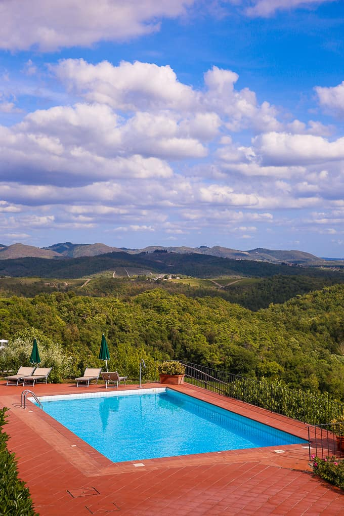 swimming pool at Dievole Resort, Tuscany, Italy