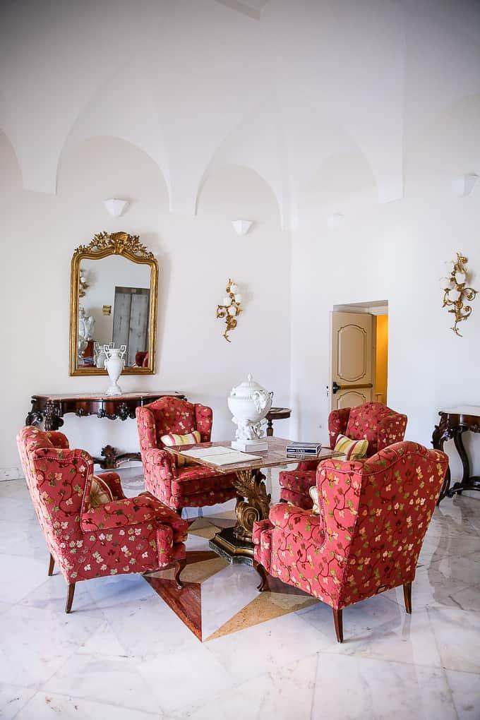 Lobby at Hotel Villa Fraulo, Ravello, Italy