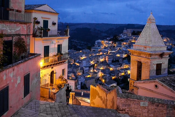 Ragusa night, Sicily, Italy