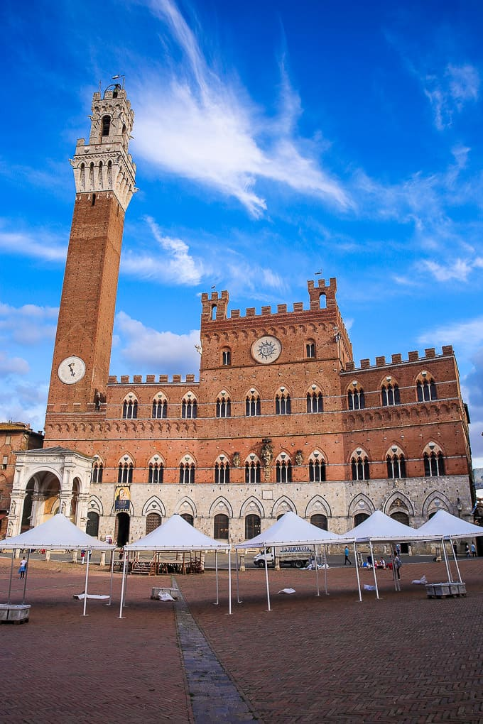 Piazza del Campo and Torre del Mangia in Siena, Italy