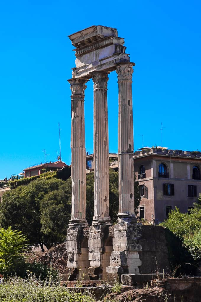The Temple of Castor and Pollux in Roman Forum, Italy