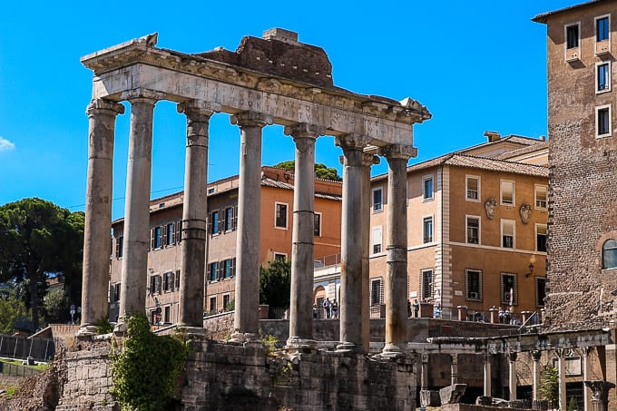 The Temple of Saturn in Roman Forum, Rome, Italy