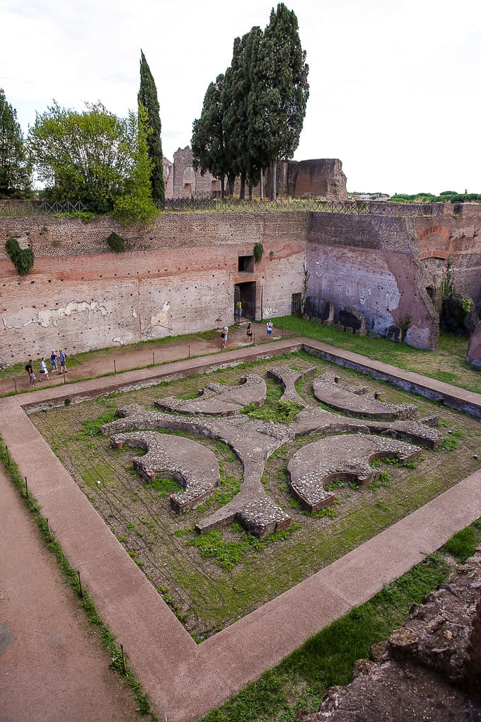 Water garden of the Domus Augustana, Palatine Hill, Rome, Italy