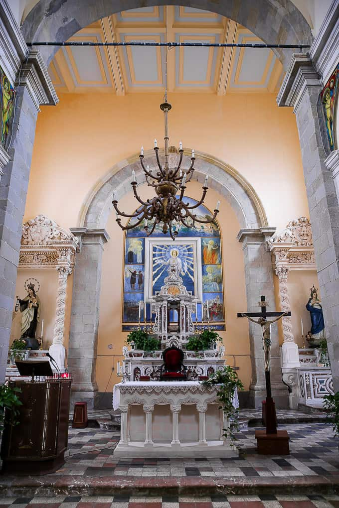 Interior of the Church of St. Nicolo - The Godfather movie church - in Savoca, Sicily