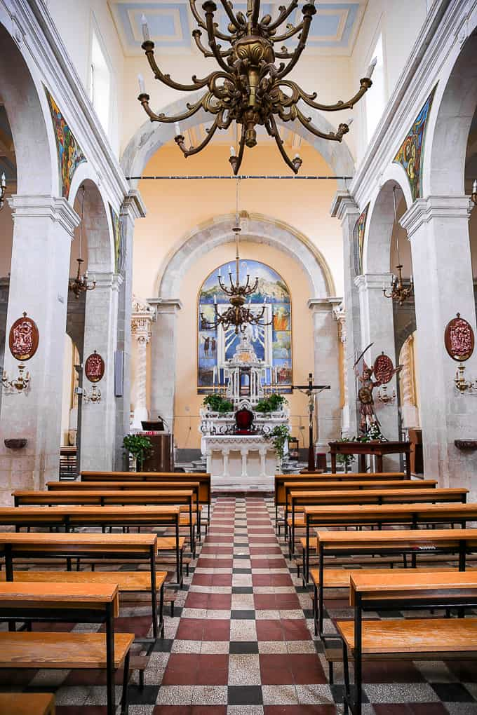Interior of Church of St. Nicolo in Savoca, Sicily