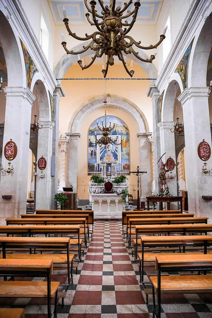Interior of Church of St. Nicolo in Savoca, Sicily
