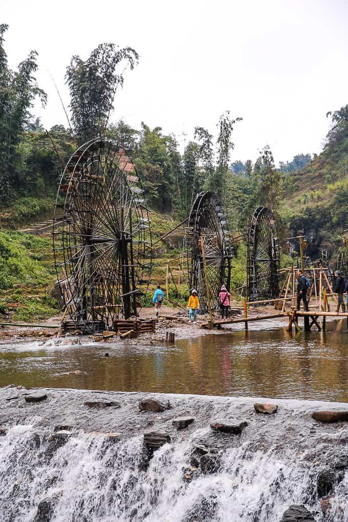 Water mills in Cat Cat village, Vietnam