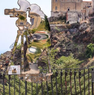 Francis Ford Coppola sculpture by artist Nino Ucchino in Savoca, Sicily
