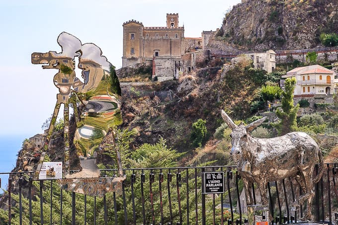 Francis Ford Coppola steel silhouette sculpture by artist Nino Ucchino in Savoca, Sicily and The Talking Donkey