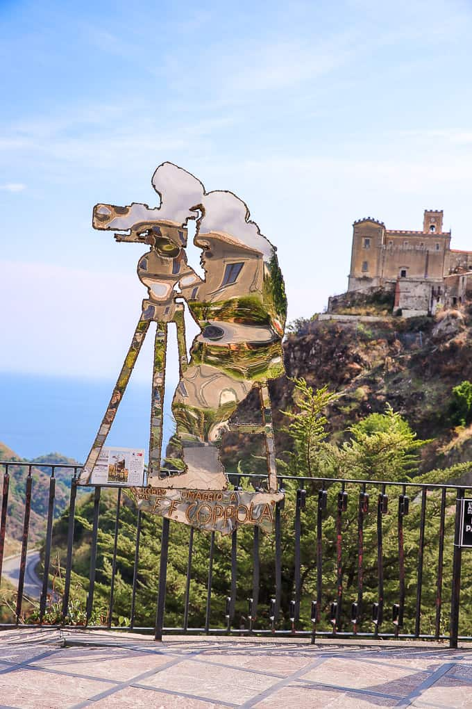 Francis Ford Coppola steel silhouette sculpture by artist Nino Ucchino in Savoca, Sicily