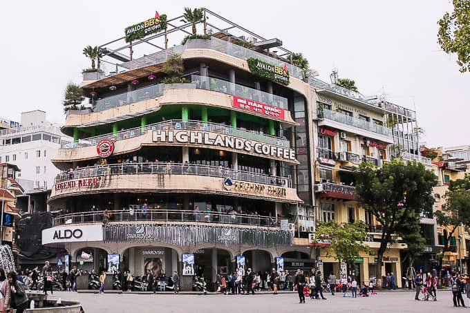 Highlands Coffee at Dong Kinh Nghia Thuc Square in Hanoi, Vietnam