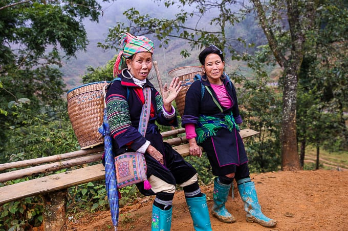 Hmong women hiking near Sapa, Vietnam
