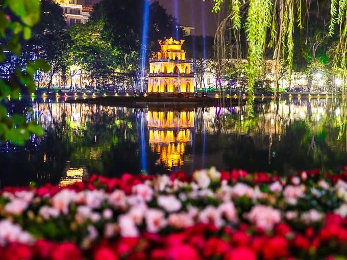 Hoan Kiem Lake (Sword Lake) in Hanoi, Vietnam at night