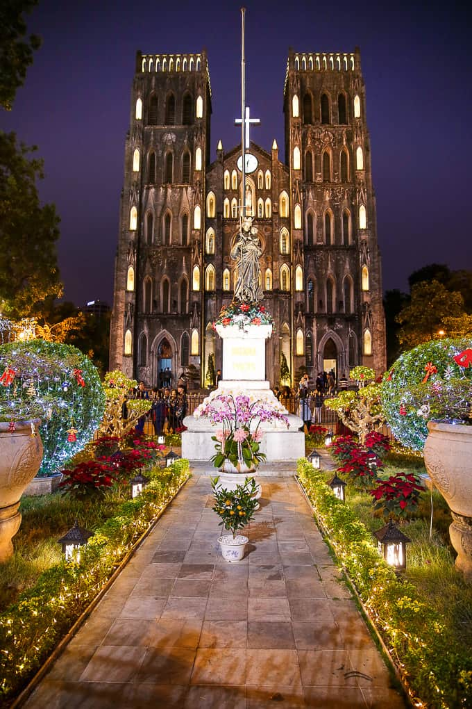 St. Joseph's Cathedral at night in Hanoi, Vietnam