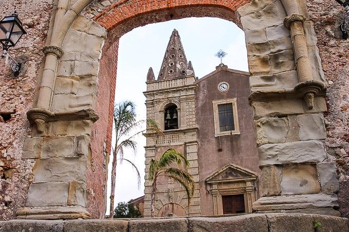 The Arco Durazzesco in Forza d'Agrò, Sicily in Forza d'Agrò, Sicily, Italy