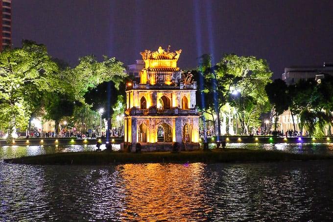 Turtle Tower on Hoan Kiem Lake (Sword Lake) in Hanoi, Vietnam