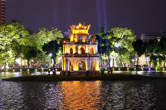 Turtle Tower on Hoan Kiem Lake - Sword Lake, Hanoi, Vietnam