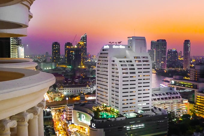 View of Bangkok at night from lebua at State Tower Hotel