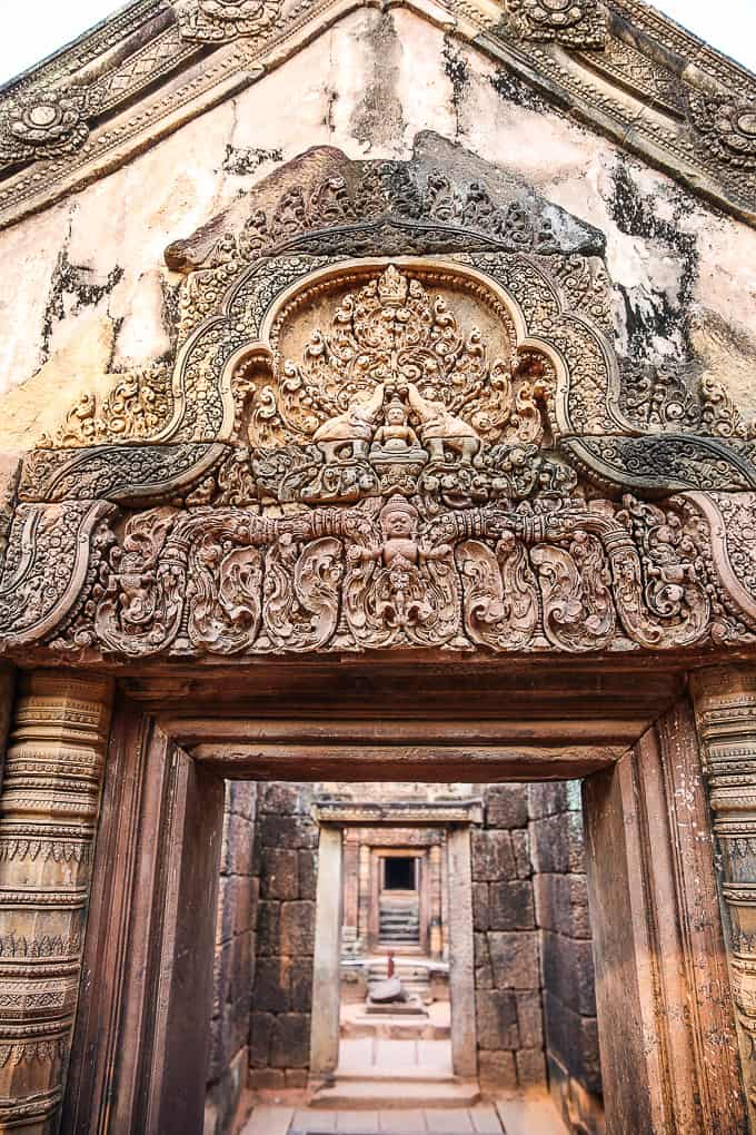Intricate Carvings at Banteay Srei, Cambodia