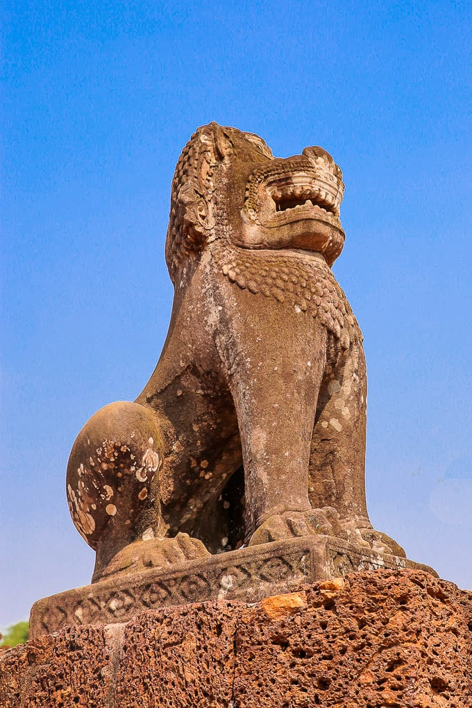 Statue of Lion in East Mebon, Cambodia