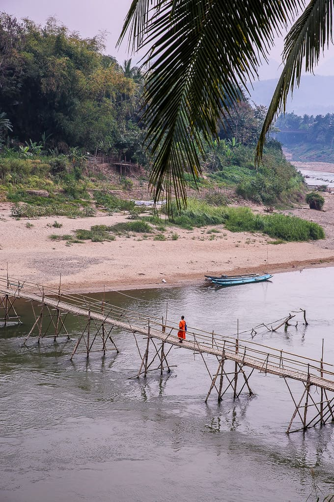 Wooden footbridge over the Nam Khan River in Luang Prabang, Laos