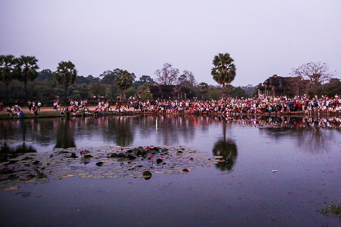 Crowds watching sunrise at Angkor Wat