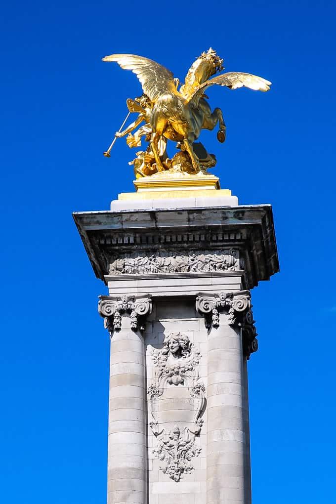 Gilded Fames sculptures on Pont Alexandre III Bridge, Paris