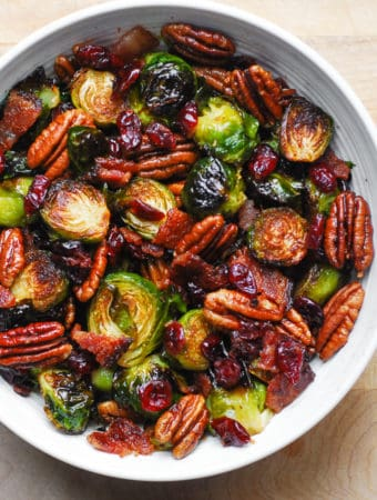 Christmas Brussels Sprouts and Bacon on a white plate