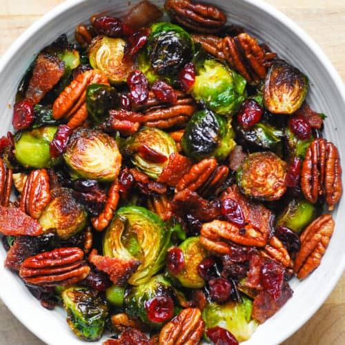 Roasted Brussels Sprouts with Bacon, Pecans, and Cranberries