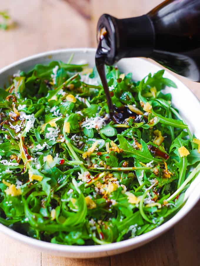 Arugula Salad With Lemon Zest Parmesan And Balsamic Dressing Julia S Album