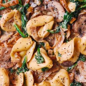 creamy spinach mushroom tortellini