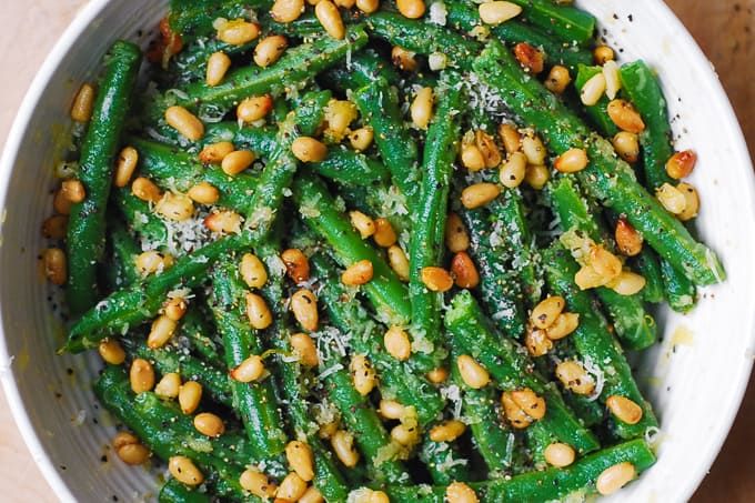 Green Beans with Pine Nuts and Parmesan Cheese