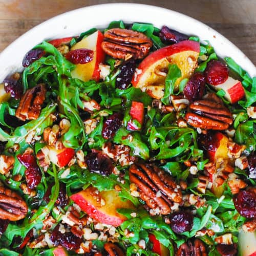 arugula salad with apples, cranberries, and pecans